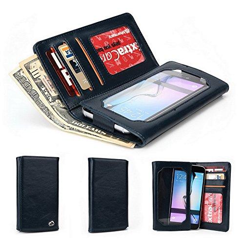 Kroo unisexe Bifold Wallet ZTE Blade Vec 3G Universal Fit différentes couleurs disponibles avec écran de visualisation beige beige bleu