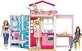 Barbie DVV47 - 2 Etagen Stadthaus, Portables Puppenhaus mit Puppenzubehör, Geschenk und Spielzeug für Mädchen ab 3 Jahren