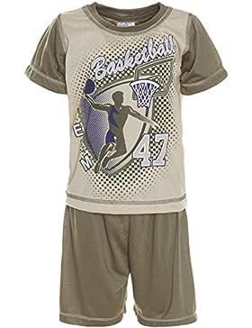 Kinder Jungen 2 teilig Schlafanzug Pyjama Hausanzug Shirt Shorts Kurzarm 21240