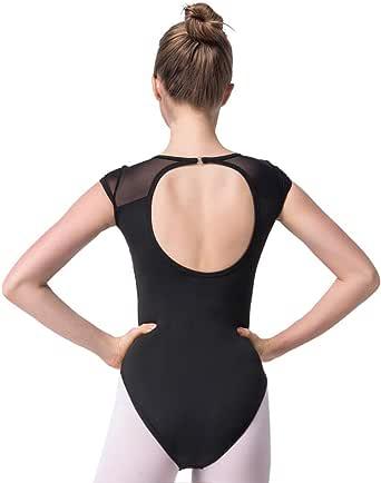 Bezioner Ballet Leotards Backless Dance Gymnastics Costumes Mesh Cap Sleeve for Women Big Girls