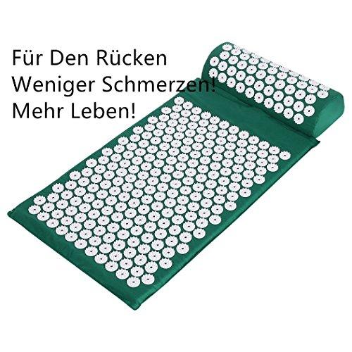 Yukio 2018 Testsieger Rückenschmerzen Blumenfeld Akupressurmatte 38x62cm Akupressur-Set Entspannungsmatte inkl. Kissen (Grün)