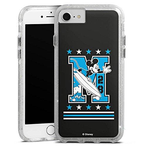 Apple iPhone 7 Bumper Hülle Bumper Case Glitzer Hülle Disney Mickey Mouse Merchandise Geschenke Bumper Case Glitzer silber