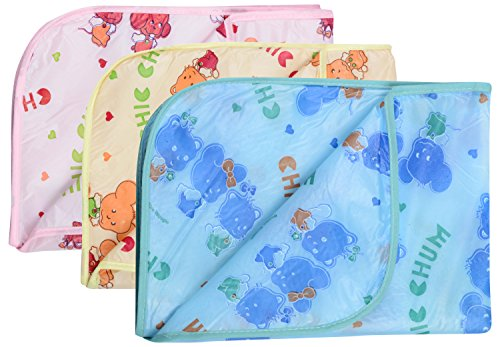 Dream Baby Waterproof Nappy Changing Sheets - Pack of 3 (Multi-color, 0-3 Months)