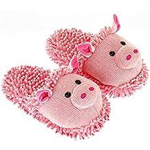 Aroma Home Shoes Pig Fuzzy Friends Slipper - Pantuflas de Material Sintético Mujer M