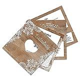 50 x Hochzeitseinladungen Hochzeit Einladungskarten Einladungen individuell Fächerkarten Fächer - Rustikal mit weißer Spitze