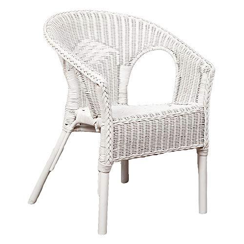 LEBENSwohnART Rattan Stuhl Burma Antik-Weiß Gartenstuhl Armlehnenstuhl Sessel Bistrostuhl
