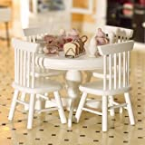The Dolls House Emporium White Circular Table & Four Chairs 1/12 Scale