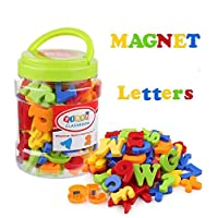 Koolbitz Magnetic Letters Numbers Alphabet Fridge Magnets Colorful Plastic ABC 123 Educational Toy Set Preschool Learning Spelling Counting Include Uppercase Lowercase Math Symbols for Toddlers