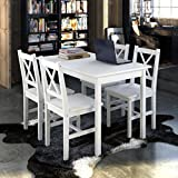 Tisch aus Holz mit 4Holz Stühle Möbel Set Weiß
