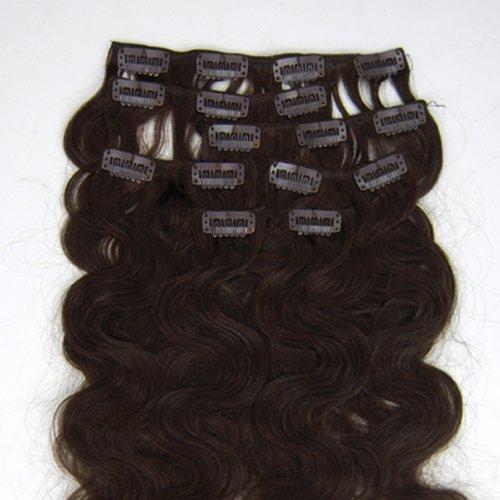 100% cheveux remy Lot de 7 61 cm Marron foncé (# 02) ondulés Cheveux Clip dans Extension de cheveux humains Poids : 70 g
