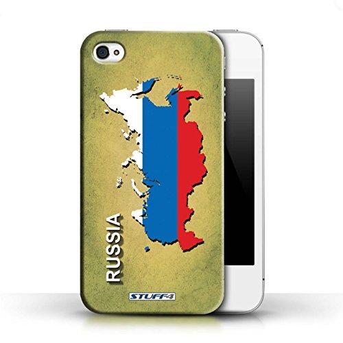 KOBALT® Hülle Case für Apple iPhone 4/4S   Argentinien Entwurf   Flagge Land Kollektion Russland/Russisch