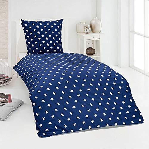 Hochwertige Microfaser Bettwäsche Bettbezug Sterne Stars pink blau 135×200 80×80
