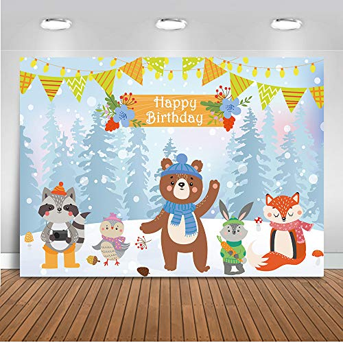 Mehofoto Alles Gute zum Geburtstag Theme Kulisse Bär Fox und Kaninchen Schnee Boden Photo Backdrops 7x5ft Weihnachten Winter Bunte Fahnen Banner Fotografie Hintergrund (Hintergrund Für Fotografie Weihnachten,)