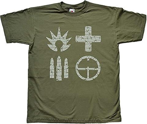 Barbed Wire Classes of Battle GRÜN T shirt Medium