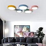 Nordic Designer 3 Kopf bunte runde Acryl Lampenschirm Deckenlampe kreative Kinderzimmer LED Deckenleuchte Jungen & Mädchen Beleuchtung 110V 220V, 5 Leiter