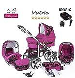 Chilly Kids Matrix II 4 in 1 carrozzina passeggino combinato (seggiolino per auto, base ISOFIX, parapioggia, zanzariera, ruote girevoli, 62 colori) 54 viola floccato fiori
