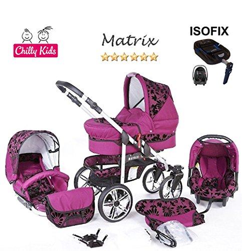 Chilly Kids Matrix II Kinderwagen Safety-Winter-Set (Winterfußsack, Autositz & ISOFIX Basis, Regenschutz, Moskitonetz, Schwenkräder) 54 Lila Geflockte Blumen