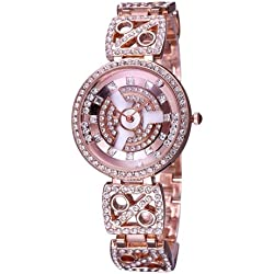 WEIQIN 3905 Fashionable and Elegant Diamond Dial Quarz Jewelry Armband Wrist Uhr mit Diamond Encrusted Alloy Band für Frauen (Rose Gold)