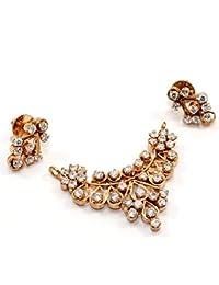 Silvestoo India Cubic Zircon Gold Plated Pendant & Earring Set For Women & Girls PG-113156