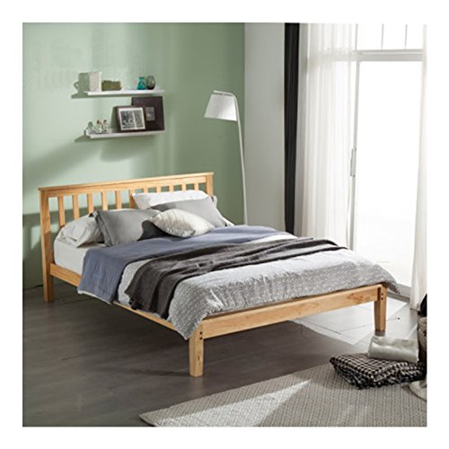 PAINTS.CUI Moderne Design Massivholz Bett Holzbett Mit Kopfteil Futonbett (110* 93 * 215cm)