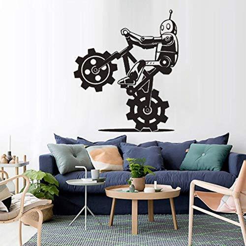 Poster Cartoon Robot on Bicycle Tricks Cyborg Modern Fashion Ornament Decals Decor 42x49cm ()