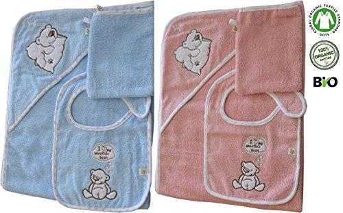 Bio Baby Badetuch Set mit Lätzchen und Waschhandschuh, aus organic Baumwolle, GOTS-Global Organic Textile Standards zertifiziert Farbe Bear