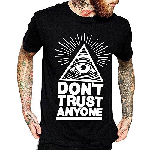 T-Shirt Don't trust anyone mit allsehendem Augensymbol Illuminati Freemasons Vertraue niemandem (Größe M) (Weichen T-shirt Aliens)