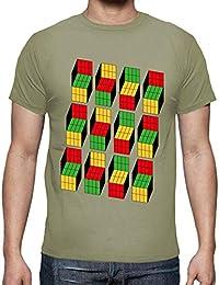 latostadora - Camiseta Ilusión óptica Cubo para Hombre 22b364c184687
