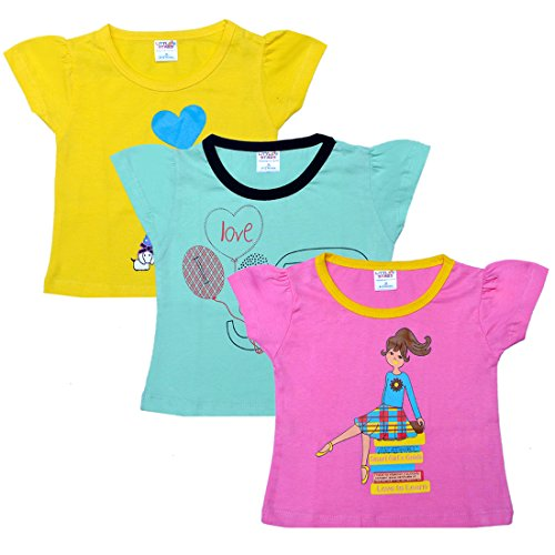 Little Stars Baby-Girls' Tees - Pack of 3 (PO3IGT_008_M, Multi-Coloured, 6-12 Months)