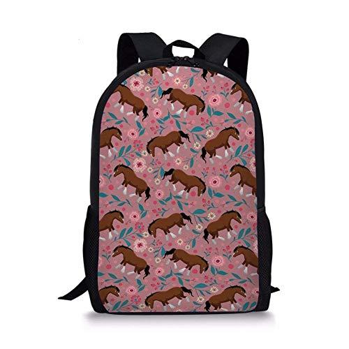 TTmom Schulrucksack,Schüler Bag,Rucksack Damen Herren Personalized Horse Teens School Backpack Casual Boys Girls School Bags Bookbags Horse Printed -5 (Dc-rucksäcke Für Jugendliche)
