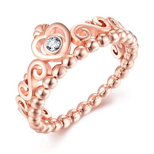 Presentski Rose Gold Kronen Ring, 925 Sterling Silber Herz Förmige Prinzessin Ring mit CZ für Damen Mädchen
