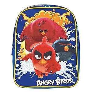 PERLETTI Mochila Infantil Niño Angry Birds – Bolso Escolar Estampado Red Chuck Bomb y Terence – Bolsa para la Escuela Guarderia Viaje con Tirantes Acolchados y Regulables – 31x24x10 cm