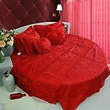 Kexinfan Bettbezug Satin Hochzeit Bettwäsche Runde Bett Vier Sätze Decke Bett Rock Kit Rose Red, 240Cm Durchmesser, Vier Sätze