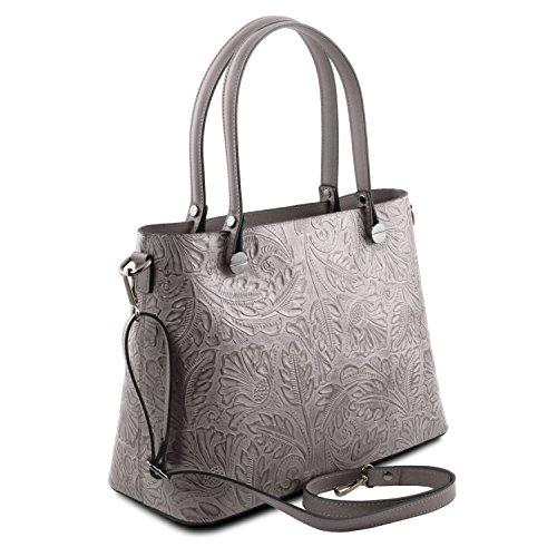 Tuscany Leather Atena Borsa shopping in pelle Ruga stampa floreale - TL141655 (Blu scuro) Grigio
