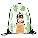PPOOia Drawstring Backpacks Bags Daypacks,Llama in A Traditional Ethnic Bolivian Hat Smiling Comic on Polka Dots Illustration,5 Liter Capacity Adjustable for Sport Gym Traveling