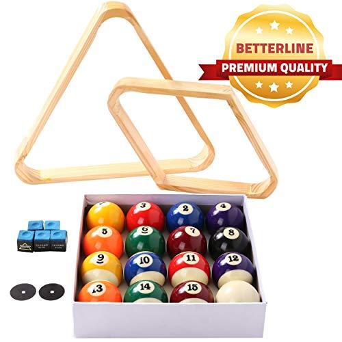 BETTERLINE - Juego de Bolas de Billar para Mesa de Piscina, triángulo, Bola y Estante de Diamante de 9 Bolas (Madera), 5 tizas y 2 Pegatinas para manteles - Accesorios para Mesa de Billar