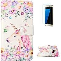 KaseHom Samsung Galaxy S7 + [Protector de Pantalla] Dibujos Animados Estuche Billetera de Cuero Folio con Ranuras para Tarjetas y Cubierta Flip magnética Slim Anti-Arañazos Case - Flores Unicornio