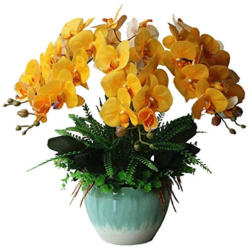Jnseaol Kunstblumen Orchidee Keramiktopf Diy Hochzeit Hotel Party Küche Fensterbank Eine Große Dekoration Muttertag Geschenk Gelb-02