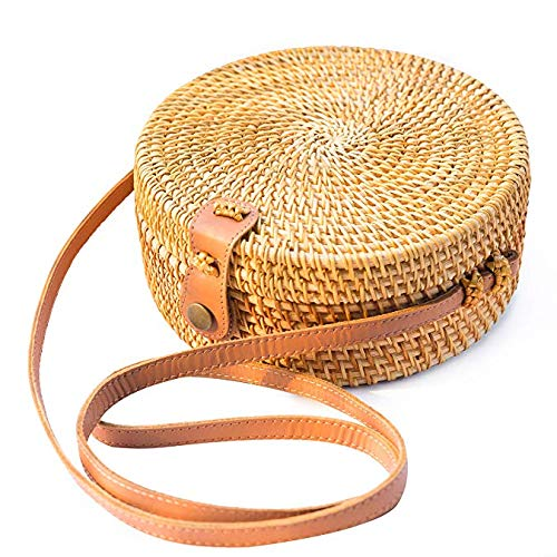 PeiQila Handgewebte runde Rattantaschen - handgemachte Wicker gewebte Handtasche Handtasche Kreis Boho Stroh Tasche