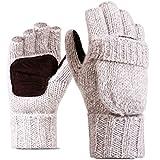WLITTLE Herren Damen Fingerlose Handschuhe mit Fold-Rückentasche Handwärmer Half Finger Flip Wolle Strickhandschuhe