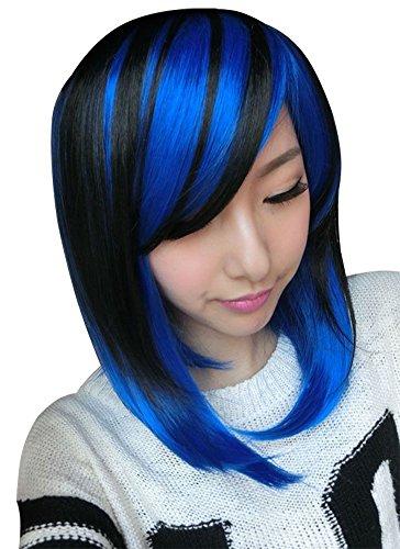 (Dayiss® Damen Cool Kunsthaar Perücke Bobo Kurz Braun+Blau Party Cosplay Kostüm Wigs, wie Echthaar)