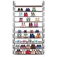 Awenia Zapatero de 10 Estantes Estable Estantería de Zapatos Ajustable DIY para 30-50 Pares de Zapatos, 100x28x178cm
