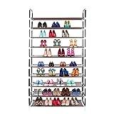 Awenia Schuhregal 10 Ebenen Schuhablage für 30-50 Paar Schuhe Schuhschrank mit Wasserdichten Stoff Braun Schuhständer 99x28x178cm