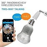 hangang Fisheye 360Grados HD inalámbrico WiFi IP Oculto Barrido Espía CAM 1280*...