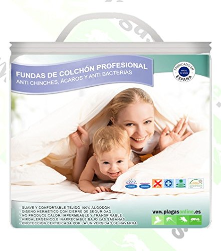 PLAGAS ONLINE Funda Almohada Anti chinches, Anti Ácaros y Bacterias 45x135
