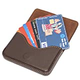 #10: RiaTech® Stylish Pocket Sized Stitched Leather Visiting Card Holder ( Coffee Brown)