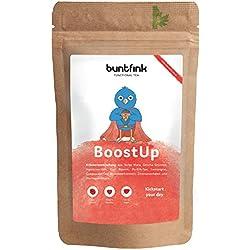 BoostUp Morgentee, max. Koffein (Teein), Alternative zu Kaffee, Tee aus 10 Powerpflanzen zB Mate + Goji + Moringa, 100% natürliche Kräuterteemischung, Diät + Detox ready - 60g, Made in Germany