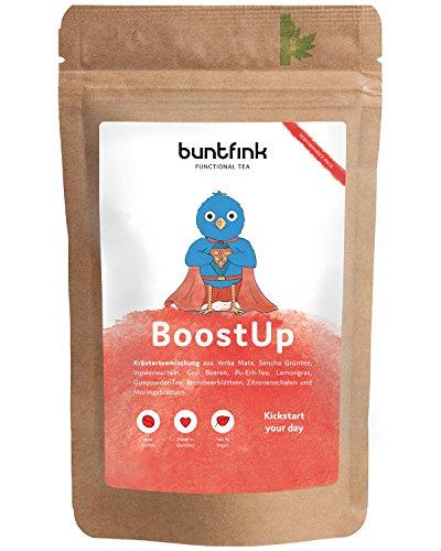 """BoostUp"" Morgen-Tee mit Koffein (Teein): Yerba Mate + Sencha Grüntee + Goji + Moringa, 100% natürlicher Kräutertee aus Deutschland, 60g loser Tee"