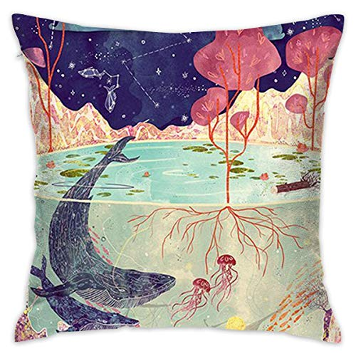 DAIAII Zierkissenbezüge, Velvet Throw Pillow Cases World Underwater and Above Water Pillow Covers Decorative 18x18 in Pillowcase Cushion Covers with Zipper