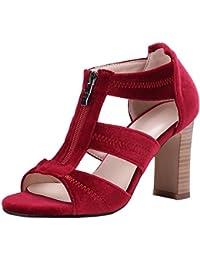 94b4c358dd9a63 Artfaerie Damen Chunky High Heels Sandalen mit Reißverschluss Open Toe  Blockabsatz Pumps Mode Samt Schuhe